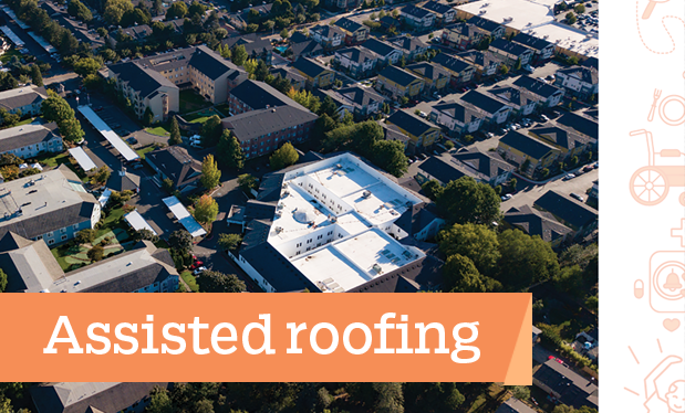 Assisted roofing - Columbia Roofing and Sheet Metal restores three roof systems on Town Center Village in Oregon