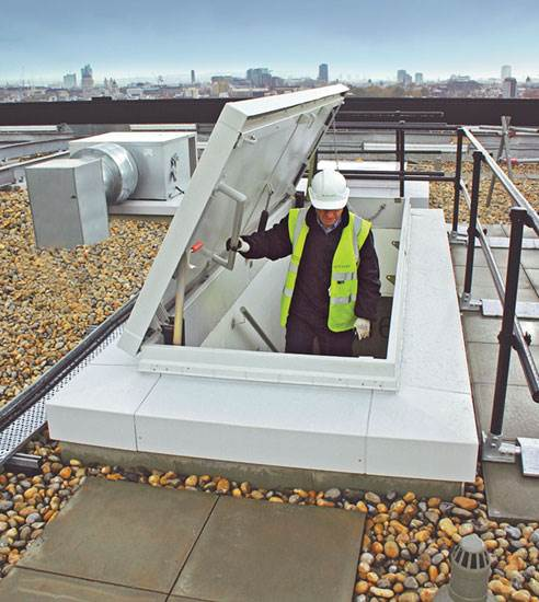 Attirant ... A Large Opening In A Service Stair Roof Hatch Allows Workers To Easily  Bring Tools And