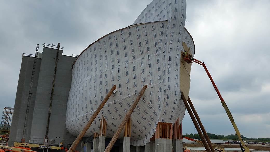 ... Three Seven Story Towers Were Built Behind The Ark To Anchor The  Structure; TruCraft Roofing ...