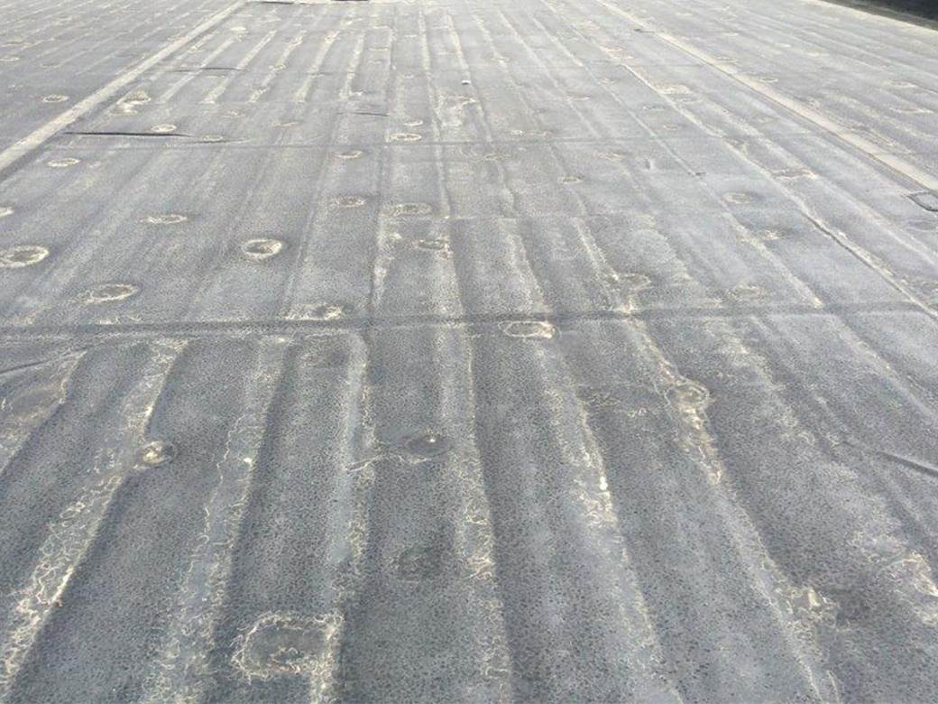 Example Of Rutting In Polyisocyanurate Insulation In An Adhered EPDM  Membrane Roof System