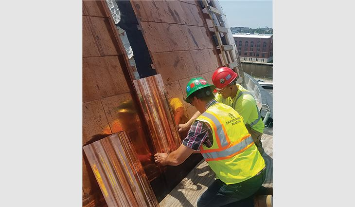 Each of the 1,900 dome panels was stamped from 1,000-pound rolls of copper coil