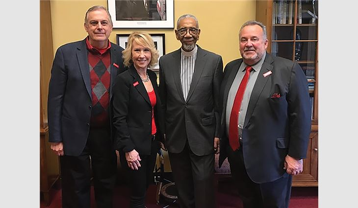 During Roofing Day in D.C. 2019, Petrick met with members of Congress to speak about matters important to the roofing industry. Shown left to right: Tom Shanahan, NRCA's vice president of enterprise risk management and executive education; Alison LaValley, NRCA's vice president of member services and development and executive director of NRCA's Legal Resource Center; Rep. Bobby Rush (D-Ill.); and Petrick