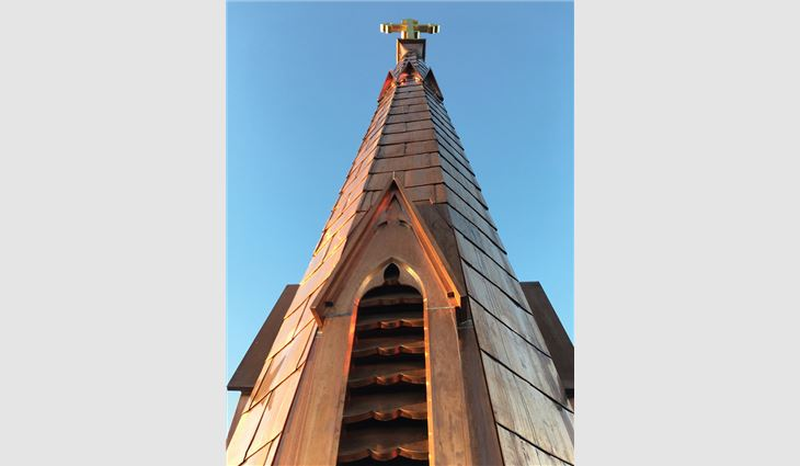 The completed steeple