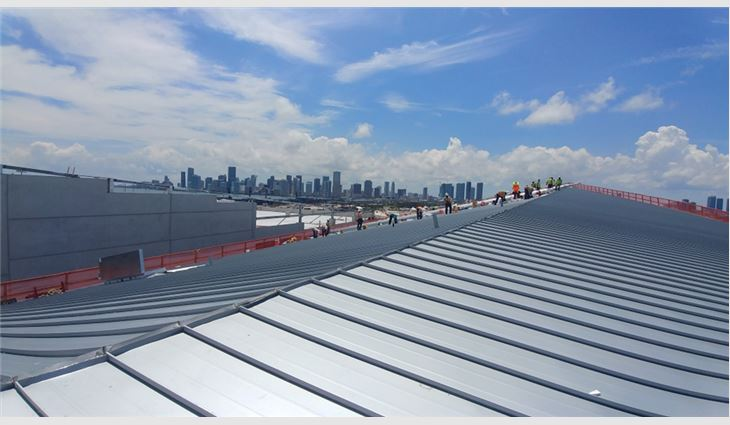 The completed aluminum roof system