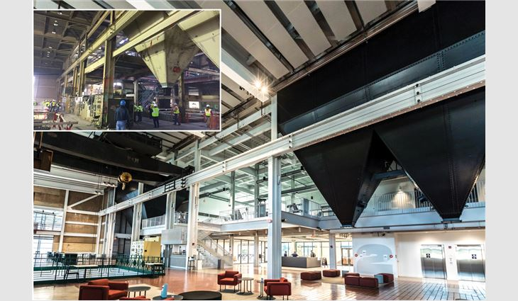 Before (inset photo) and after views of The Powerhouse's interior