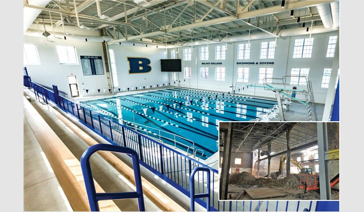 Before (inset photo) and after views of the natatorium