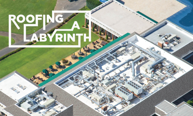 Roofing a labyrinth - Raintight Roofing installs a new TPO roof system on Pleasant Valley Country Club in Arkansas