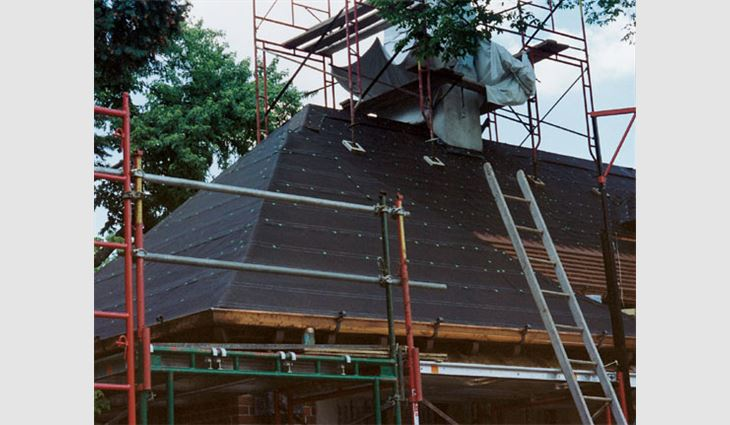 A No. 43 base sheet was installed on several roof areas.