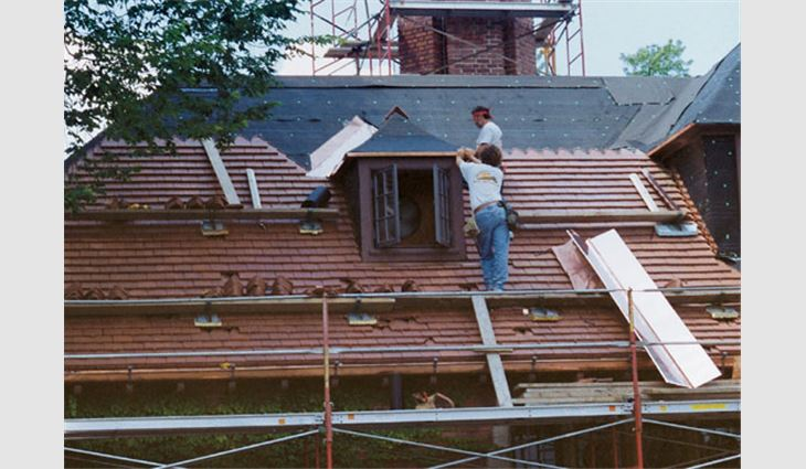 New Ludowici Roof Tile tiles replaced original 85-year-old tiles from the same manufacturer.
