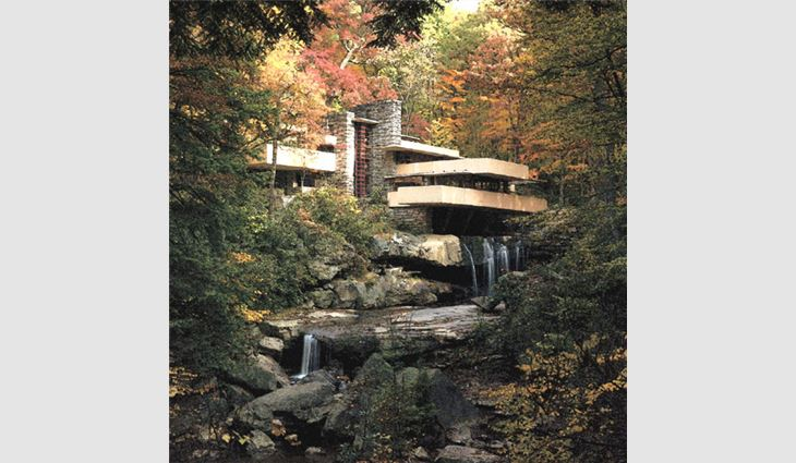 Fallingwater, Mill Run, Pa., was was designed by architect Frank Lloyd Wright in 1937.