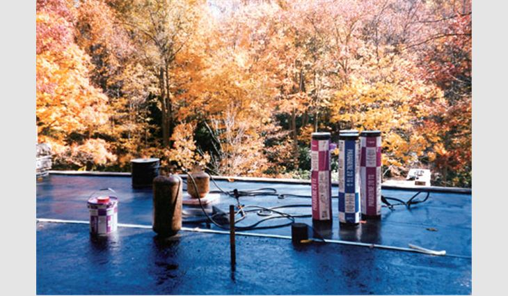 Because of the damp environment in Mill Run, Pa., and Fallingwater's design, which allows water to flow over the building like a waterfall, terraces feature waterproofing materials (above). Fallingwater's low-slope roof systems feature Siplast Paradiene 20 TG S, Paradiene 20 TS, Paradiene 20 EG and Parafor 50 LT.