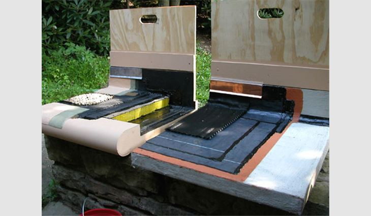 System mock-ups were prepared to show the materials being installed on Fallingwater's terraces and roof systems.
