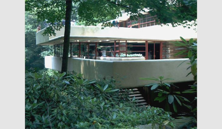 Fallingwater, which mimics the area's rock ledges' natural patterns, is designed as a series of cantilevers, or supporting shelves.