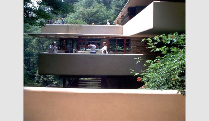 Visitor tours continued during renovation work at Fallingwater.