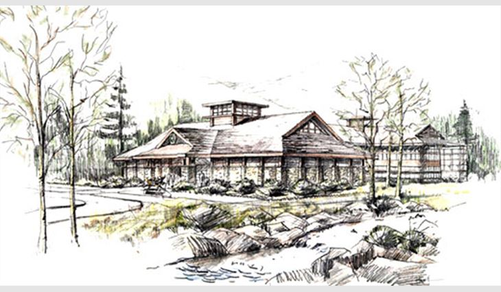 A sketch of the future headquarters of the Rocky Mountain Elk Foundation, Missoula, Mont. Elk Corp., Dallas, is donating roofing materials.