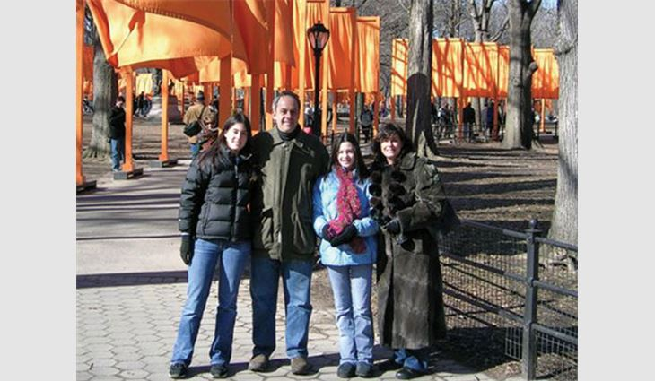 Ripps, president of Palmer Asphalt Co., Bayonne, N.J., with his family in Central Park. Pictured from left to right: daughter Danielle; Ripps; daughter Perri; and wife, Nancy.