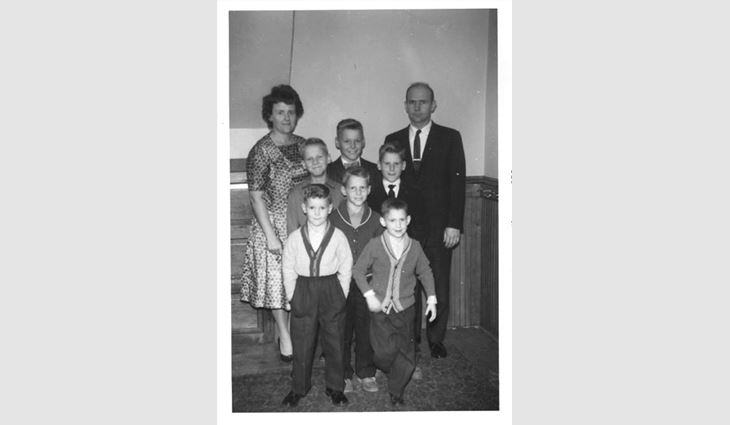 Ribble (bottom left) with his parents and brothers.