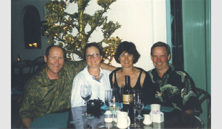 Pictured from left to right: Ribble; Ribble's wife, DeaNa; Sandy Bradford; and immediate former NRCA President Dane Bradford in St. Thomas.