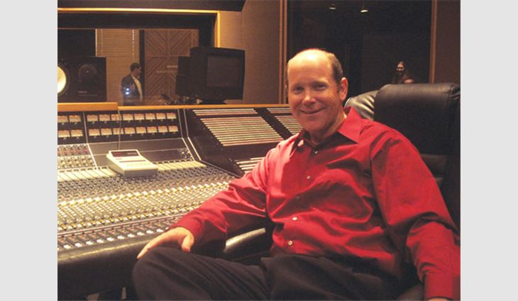 Ribble sits at the sound board of the Sound Kitchen, a recording studio in Nashville, Tenn.