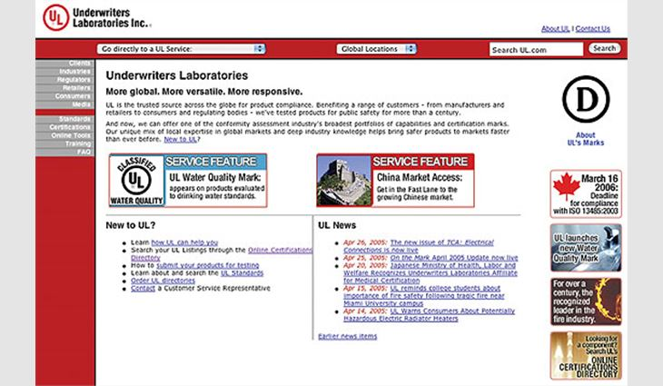 The home page of UL's Web site