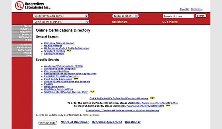 UL's Online Certifications Directory