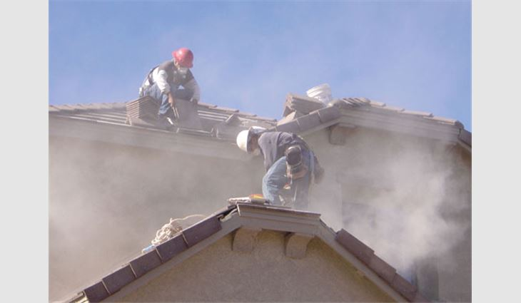 Any employee involved in installing the roof system in NIOSH's study, whether involved in cutting tiles or not, had the potential for overexposure to respirable silica and noise.