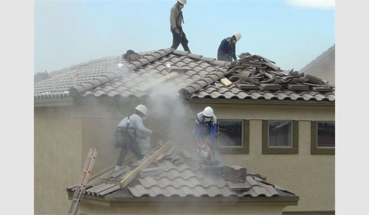 Exposures from cutting cement roof tiles can exceed OSHA's PEL.