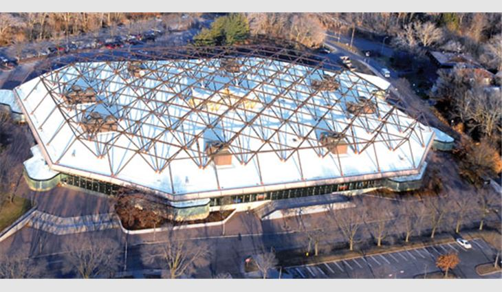 The roof system of the University of Iowa's Carver Hawkeye Arena was recycled.
