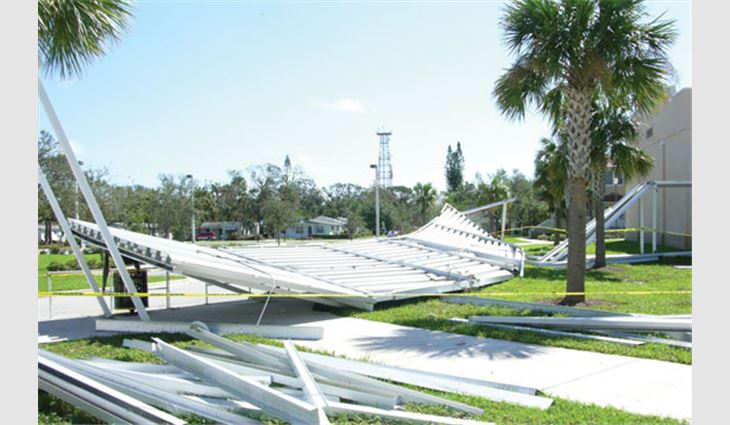 Photo 4: This walkway collapsed during winds that were in the range of 100 mph.