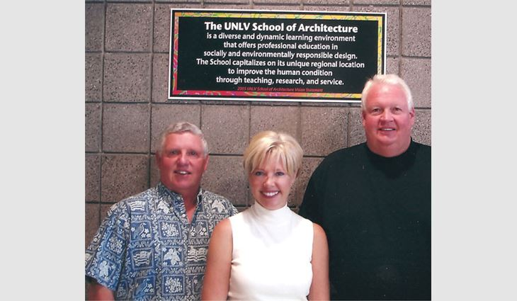 Pictured from left to right: Dennis Conway, Commercial Roofers' co-owner; Wendy Nelson, director of development for the College of Fine Arts at the University of Nevada, Las Vegas; and Scott Howard, Commercial Roofers' co-owner