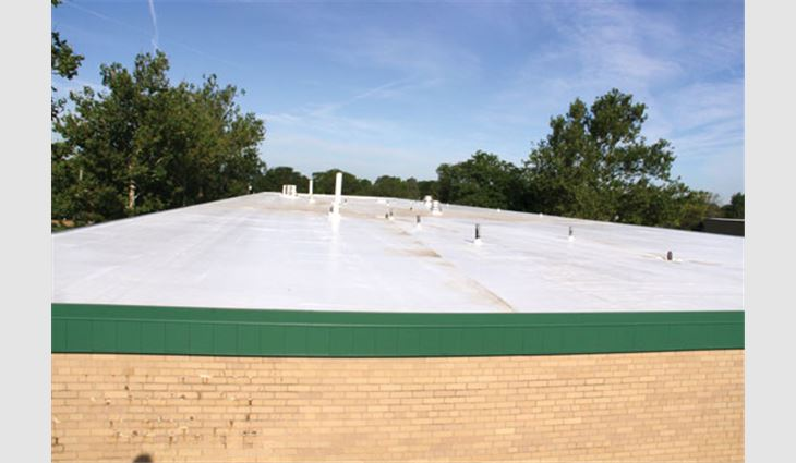 Wilson Middle School's new white TPO roof system