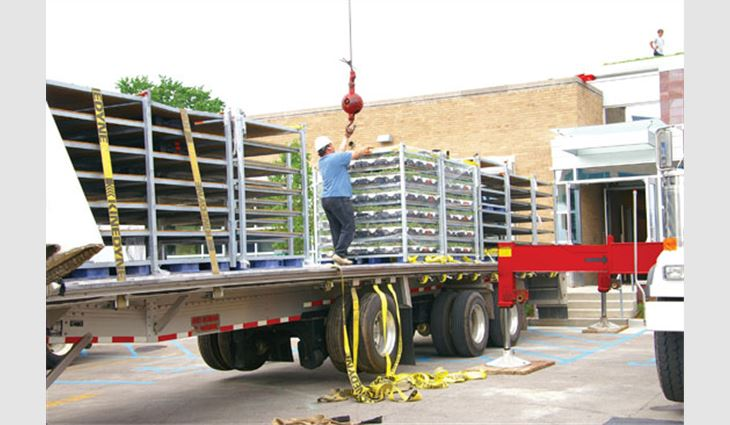 Hoppits delivered by LiveRoof are ready to be hoisted to the roof and installed.