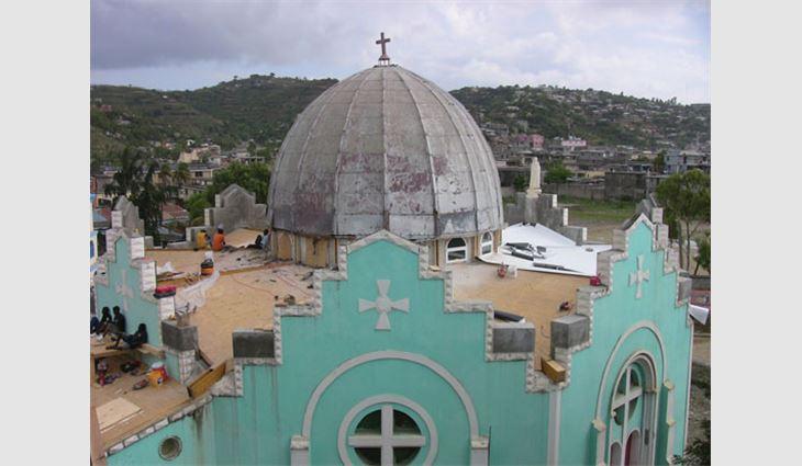 St. Monfort Church in Port-de-Paix, Haiti, receiving much-needed roof repairs