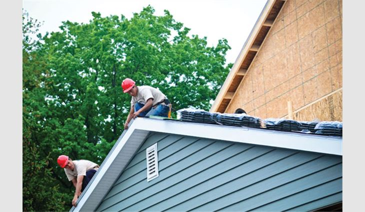 Through its involvement with Homes for Our Troops, DaVinci Roofscapes donated its slate gray roof tiles to be installed on a new home in Hillsdale, N.J., for Cpl. Visnu Gonzalez, a wounded veteran.