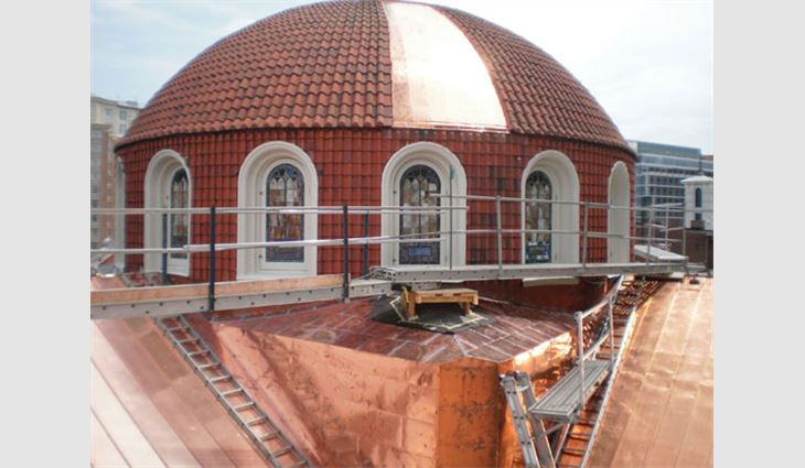 A portion of the new copper roof system and large dome