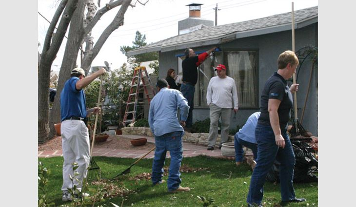 Volunteers participate in the International Roofing Expo®'s second annual Community Service Day in Las Vegas.