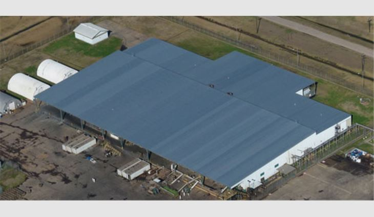 An aerial view of the cannery's new metal roof system
