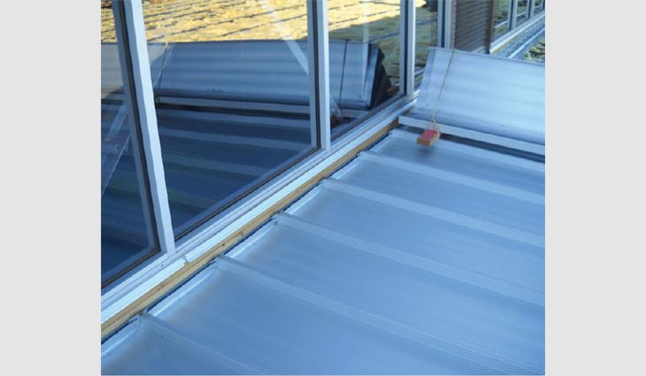 New 1/4-inch-thick window systems were installed at the roof system's perimeter.