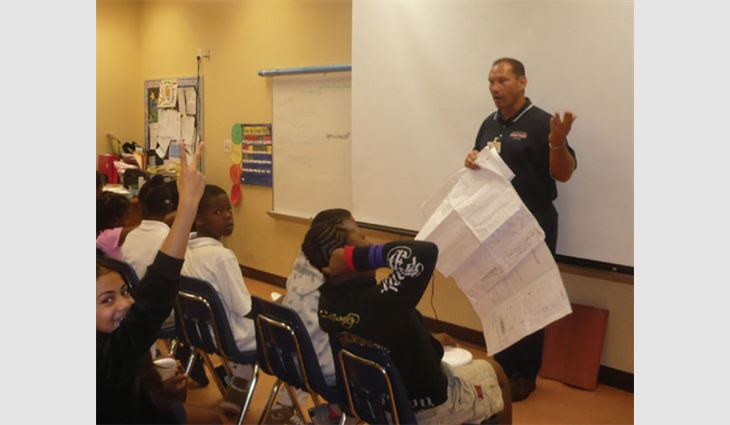 Baytosh speaks to kids during Broward County Schools' Career Day