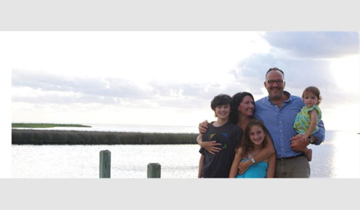 Kelly with his wife, Rebecca; son, Jacob; and daughters, Sarah and Lucy, in Cape Hatteras, N.C.