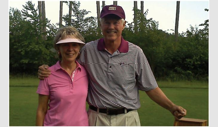 Dalsin with his wife, Barbara, after making his third hole in one