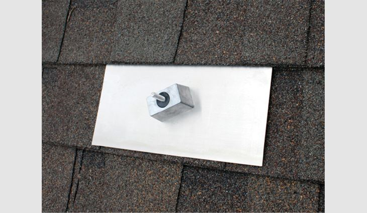 The Classic Composition Mount integrates the mounting block with aluminum flashing, providing simple, single-bolt installation for retrofitting a PV system onto an existing roof.