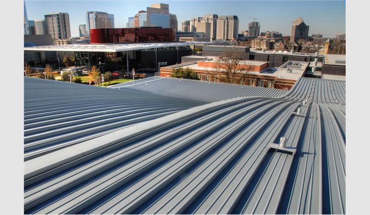 10 layers of materials comprise the acoustic roof system