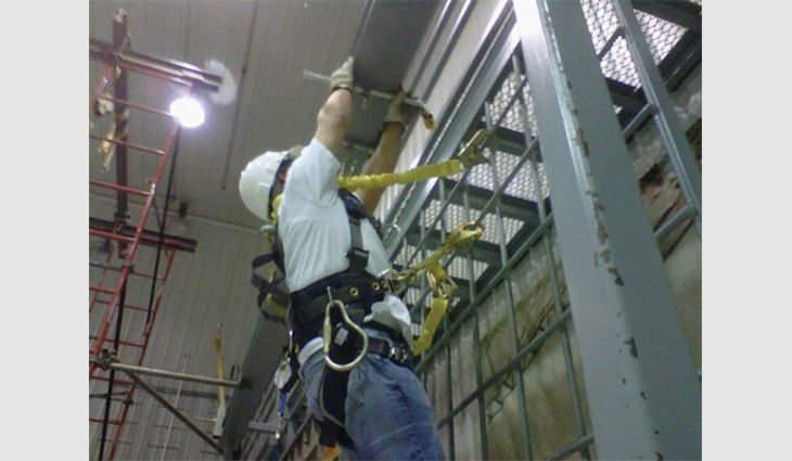 Watts attends a fall-protection training course at Capital Safety, Red Wing, Minn.