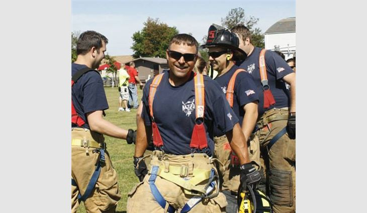 In his free time, Watts is a volunteer firefighter