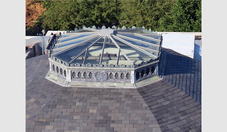 The skylight on Gruss Center of Visual Arts was rebuilt and reglazed, and the ornate details were preserved.