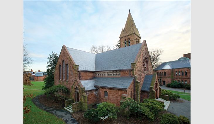 While removing the slate from Edith Memorial Chapel, crew members found pieces of slate and copper with etchings that included dates from workers who originally installed the roof system in 1895.