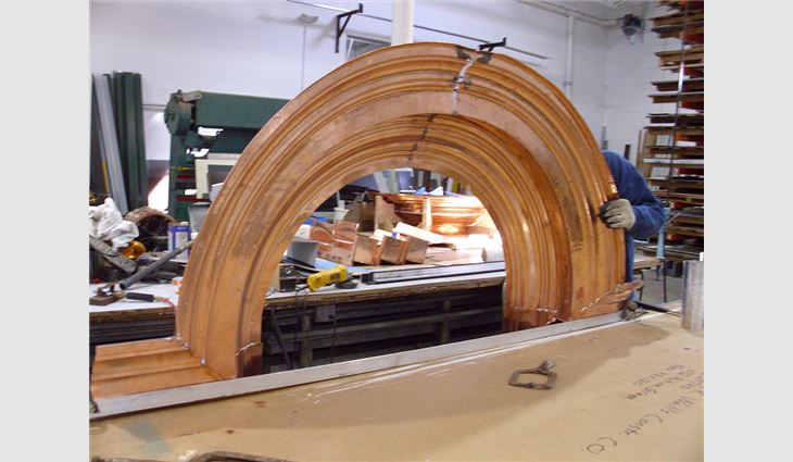 One of many architectural copper elements fabricated in James R. Walls' off-site fabrication shop.