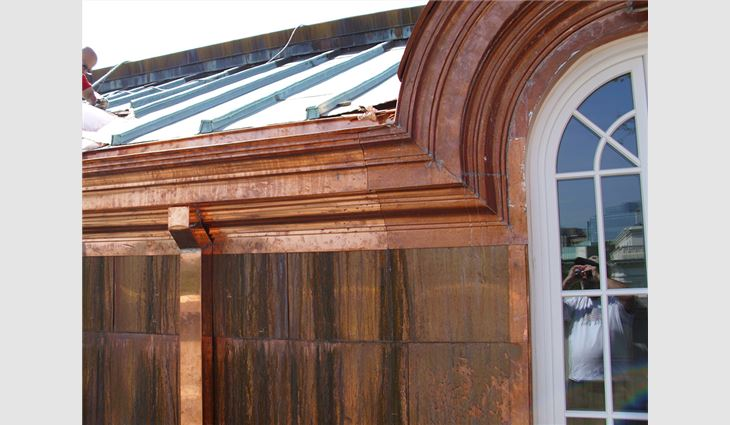 Completed copper work on the library.