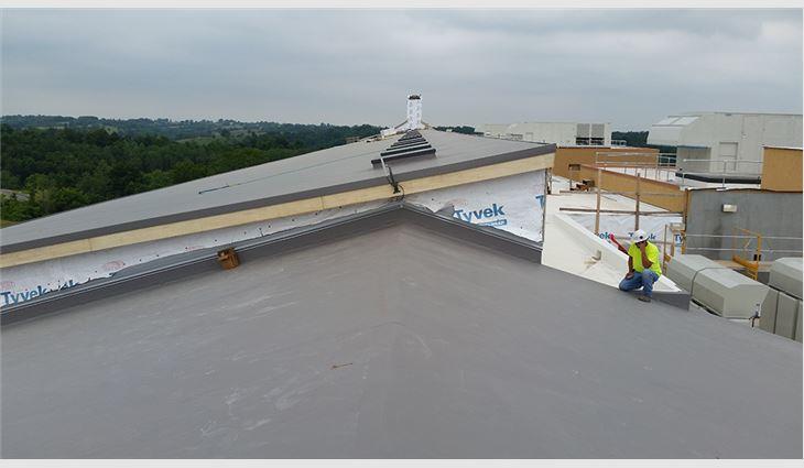 Workers adhered TPO membrane in slate gray